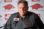 Arkansas coach Sam Pittman speaks Wednesday, Dec. 18, 2019, during a press conference to discuss the early signing period at the Fred W. Smith Football Center on the University of Arkansas in Fayetteville.