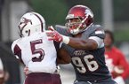 East Mississippi Community College defensive lineman Julius Coates (96) is shown during a game against Hinds Community College on Thursday, Aug. 29, 2019, in Raymond, Miss.