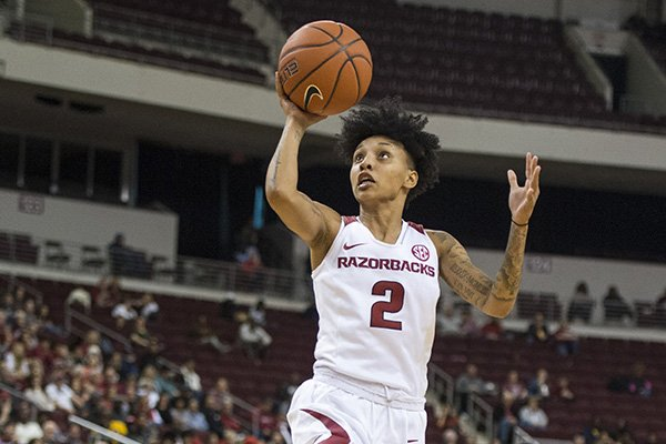 Arkansas' Alexis Tolefree (2) goes up for a shot during the Razorbacks' game against Arkansas-Little Rock on Saturday, Dec. 21, 2019, at Simmons Bank Arena in North Little Rock.