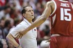 Arkansas head coach Eric Musselman, left, talks with player Mason Jones in the first half of an NCAA college basketball game against Indiana in Bloomington, Ind., Sunday, Dec. 29, 2019. (AP Photo/AJ Mast)