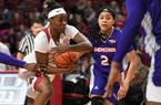 Arkansas' A'Tyanna Gaulden drives to the basket in front of Northwestern State's Tristen Washington Sunday Dec. 15, 2019 at Bud Walton Arena in Fayetteville. Gaulden has been a spark plug off the bench for the No. 20 Arkansas women's basketball team, averaging 10.8 points, 3 rebounds and 2.6 assists in her last five games.