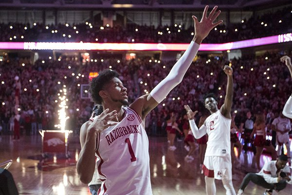 Arkansas guard Isaiah Joe (1) is shown prior to a game against Texas A&M on Saturday, Jan. 4, 2020, in Fayetteville.