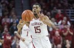 Arkansas guard Mason Jones (15) is shown during a game against Texas A&M on Saturday, Jan. 4, 2020, in Fayetteville.