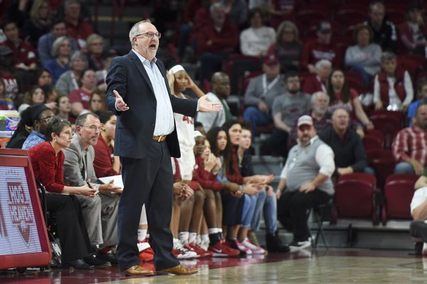 Arkansas Razorback coach Mike Neighbors looks on during his team's 84-77 loss to Texas A&M. The Razorbacks next game is in Columbia against the No. 4 ranked South Carolina Gamecocks.