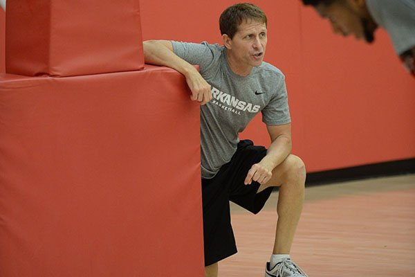 Arkansas coach Eric Musselman directs his players Thursday, Sept. 26, 2019, during practice in the Eddie Sutton Gymnasium inside the Basketball Performance Center in Fayetteville.