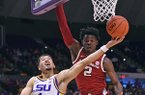 LSU guard Skylar Mays (4) drives to the basket past Arkansas forward Adrio Bailey (2), Wednesday, Jan. 8, 2020, at LSU's Pete Maravich Assembly Center in Baton Rouge, La.