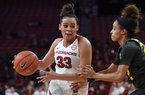 Chelsea Dungee drives to the basket during Arkansas' 90-73 win over Missouri Sunday Jan. 12, 2020 at Bud Walton Arena in Fayetteville. Dungee scored a season-high 38 points against the Tigers
