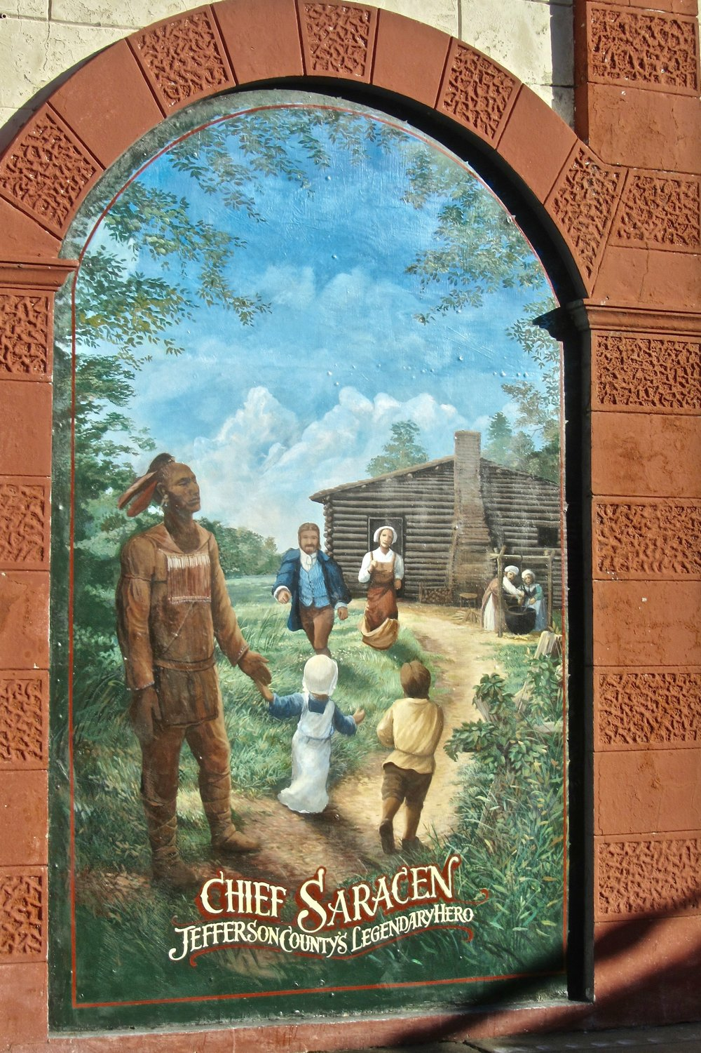Downtown Pine Bluffs murals include one portraying the legend of Chief Saracen.(Special to the Democrat-Gazette/Marcia Schnedler)