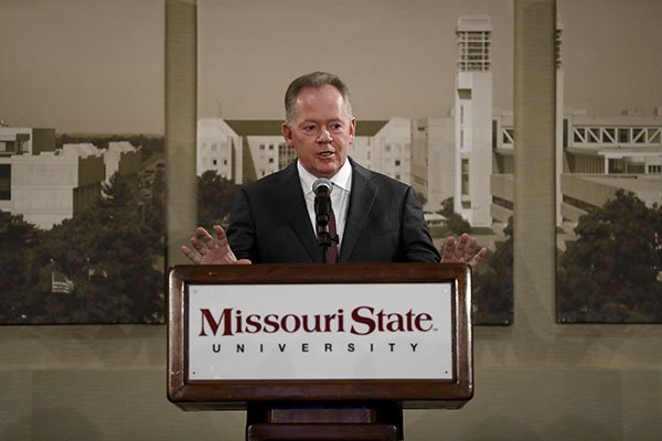 Bobby Petrino is introduced as the new football at Missouri State during a news conference Thursday, Jan. 16, 2020, in Springfield, Mo. Petrino has a 119-56 record in 14 seasons at Arkansas, Western Kentucky and Louisville and replaces Dave Steckel who was fired after winning just 13 games in five seasons. (AP Photo/Jeff Roberson)