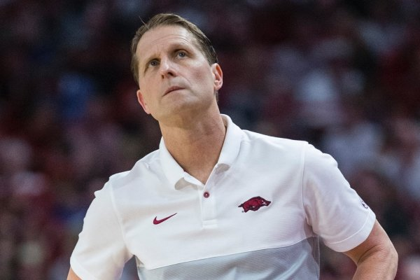 Arkansas coach Eric Musselman reacts during a game against Kentucky on Saturday, Jan. 18, 2020, in Fayetteville.