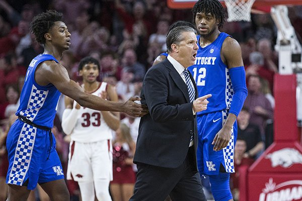 Kentucky coach John Calipari argues with officials during a game against Arkansas on Saturday, Jan. 18, 2020, in Fayetteville. Calipari was ejected.