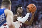Arkansas forward Adrio Bailey (2) shoots a free throw during a game against Kentucky on Saturday, Jan. 18, 2020, in Fayetteville.