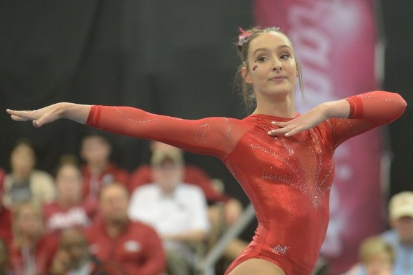 Arkansas' Kennedy Hambrick competes in the floor Saturday, Jan. 5, 2019, during the Razorbacks' meet with No. 2 Oklahoma in Barnhill Arena in Fayetteville.