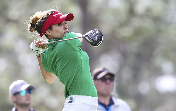 Gaby Lopez drives from the 2nd tee during during the final round of the Tournament of Champions LPGA golf tournament Sunday, Jan. 19, 2020, in Lake Buena Vista, Fla. (AP Photo/Gary McCullough)