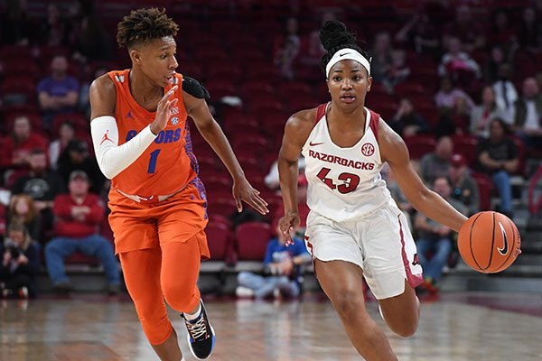 Arkansas guard Makayla Daniels (43) dribbles the ball against Florida guard Kiara Smith (1) during a game Sunday, Jan. 26, 2020, in Fayetteville.