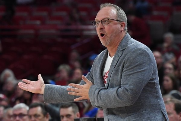 Razorbacks coach Mike Neighbors makes an expression during Arkansas' game against Florida on Jan. 26, 2020 at Bud Walton Arena. The Razorbacks won 79-57.