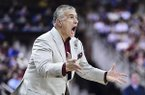 South Carolina coach Frank Martin reacts to a play during the first half an NCAA college basketball game against Kentucky Wednesday, Jan. 15, 2020, in Columbia, S.C. South Carolina defeated Kentucky 81-78. (AP Photo/Sean Rayford)