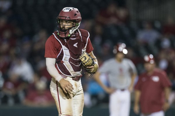 Arkansas catcher Casey Opitz looks to the dugout during the Razorbacks scrimmage against Oklahoma Friday, Sept. 20, 2019, at Baum-Walker Stadium in Fayetteville. Opitz was named a captain for the 2020 season.