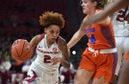 Arkansas' Alexis Tolefree (2) drives around Florida's Kristina Moore during a game Sunday, Jan. 26, 2020, in Fayetteville.