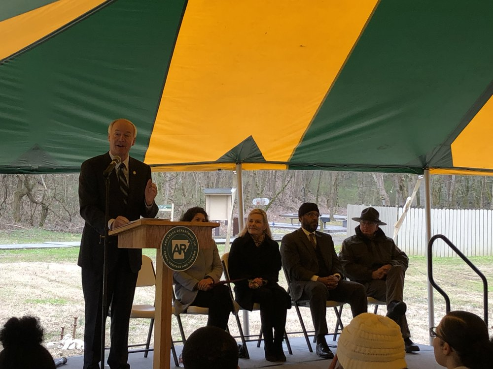 Gov. Asa Hutchinson speaks Thursday at an event announcing a Walton Family Foundation grant supporting the Delta Heritage Trail in east Arkansas.