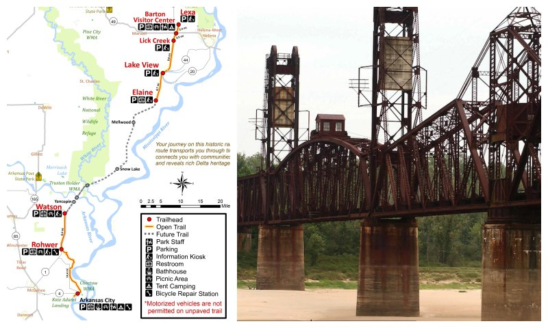 At left, a map of the planned Delta Heritage Trail. At right, the Arkansas River bridge at Yancopin that it will cross. (Courtesy Arkansas State Parks)