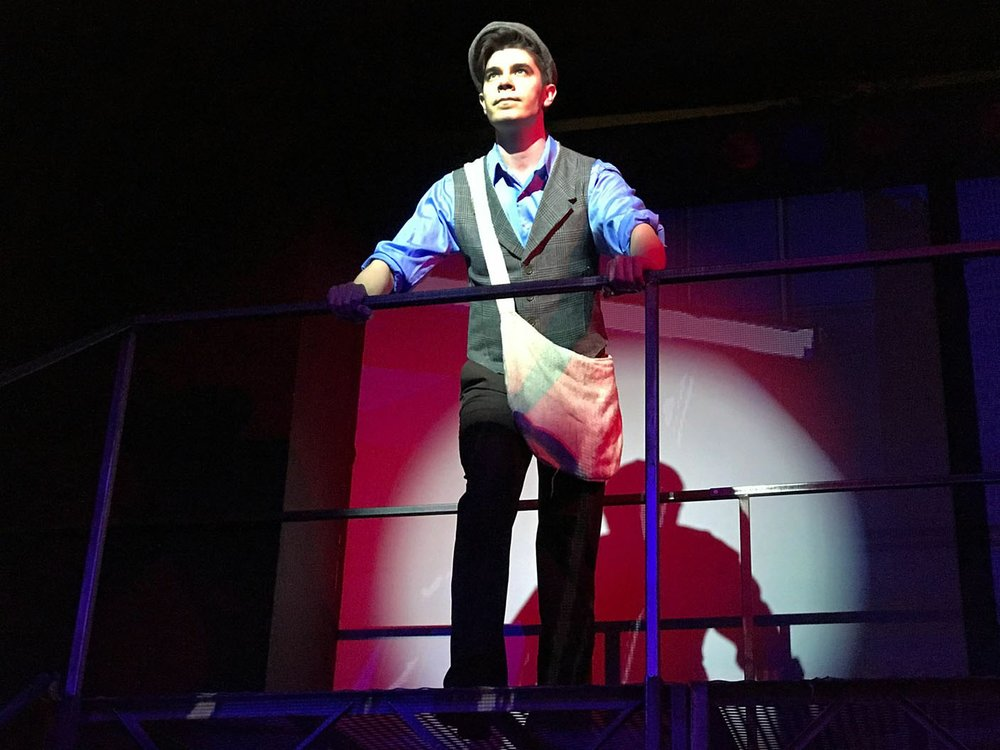 """Actor Michael Myers as Jack Kelly leads the newsboys of New York City into a David-and-Goliath fight against Joseph Pulitzer in the Arkansas Public Theatre production of """"Newsies."""" See more at nwaonline.com/video. (NWA Democrat-Gazette/Becca Martin-Brown)"""