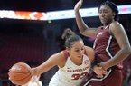 Arkansas guard Chelsea Dungee (left) drives to the basket Thursday, Feb. 6, 2020, as she is guarded by South Carolina forward Aliyah Boston during the first half of play in Bud Walton Arena.