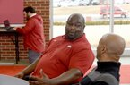 Derrick LeBlanc, an assistant coach with the University of Arkansas football team, speaks with members of the media Thursday, February 6, 2020, inside the Fred W. Smith Football Center on the campus in Fayetteville. Ten football assistants participated in the interview process. Check out nwaonline.com/200207Daily/ and nwadg.com/photos for a photo gallery. (NWA Democrat-Gazette/David Gottschalk)
