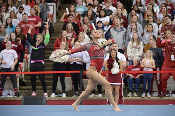 Arkansas' Sophia Carter competes Friday, Feb. 7, 2020, in the portion of the Razorbacks' meet with Georgia in Barnhill Arena in Fayetteville.