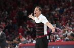 Eric Musselman reacts during Arkansas' 79-76 overtime loss to Auburn Tuesday Feb. 4, 2020 at Bud Walton Arena in Fayetteville. Arkansas will play Mississippi State for the second time on Saturday.