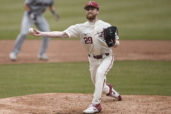 Arkansas pitcher Marshall Denton throws during a game against Gonzaga on Sunday, Feb. 23, 2020, in Fayetteville.