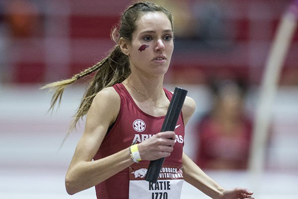 Arkansas' Katie Izzo competes in the women's distance medley relay during the Razorback Invitational on Friday, Jan. 31, 2020, in Fayetteville.