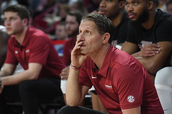 Arkansas coach Eric Musselman is shown during a game against LSU on Wednesday, March 4, 2020, in Fayetteville.