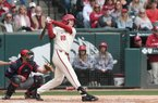 Arkansas' Heston Kjerstad gets a hit against South Alabama Sunday March 8, 2020 at Baum-Walker Stadium in Fayetteville. The Razorbacks won 5-3 and are back at home to take on Grand Canyon University Tuesday at 6:30 P.M.