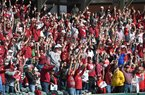 Arkansas fans call the Hogs on Sunday, March 8, 2020 at Baum-Walker Stadium in Fayetteville.