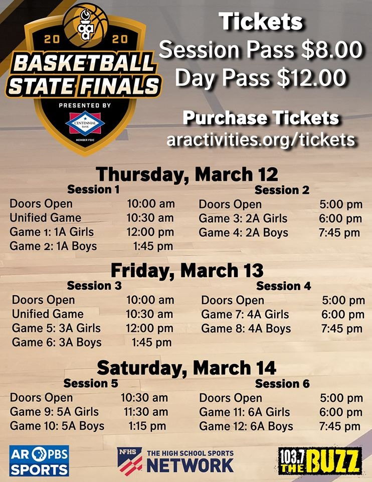 The schedule for the Arkansas State Finals in Hot Springs.