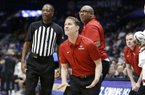 Arkansas head coach Eric Musselman reacts to a call in the first half of an NCAA college basketball game against Vanderbilt in the Southeastern Conference Tournament Wednesday, March 11, 2020, in Nashville, Tenn. (AP Photo/Mark Humphrey)