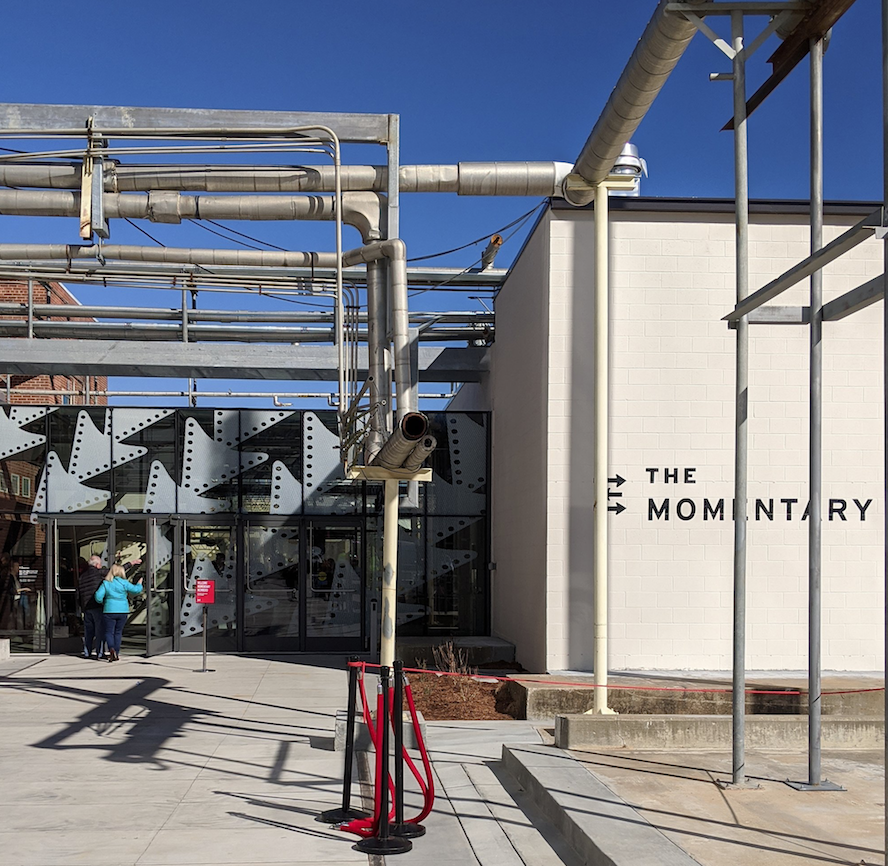 The main entrance to The Momentary in Bentonville. The art and performance space funded by the Walton Foundation, which was once a Kraft cheese factory, opened last month.  (NWA Democrat-Gazette/Jocelyn Murphy)