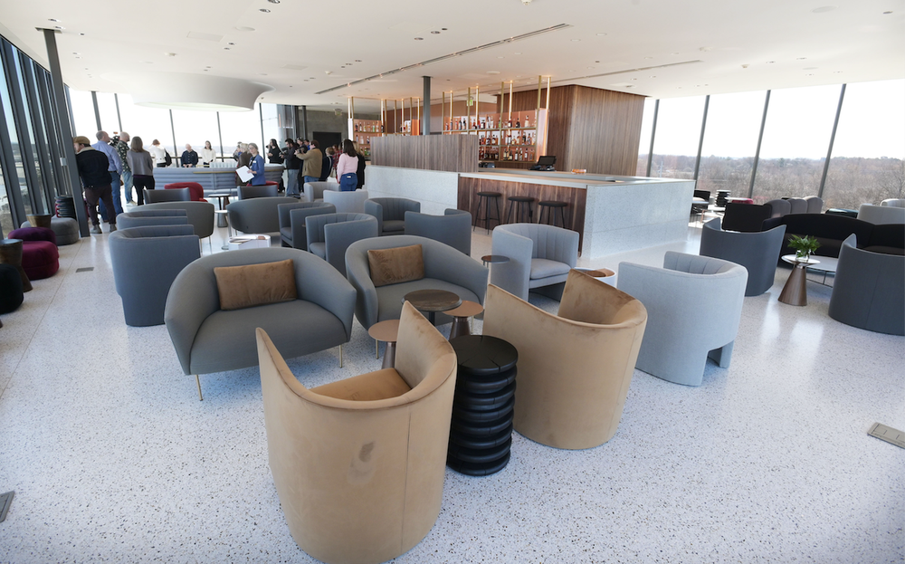 The Tower Bar at The Momentary has a mid-century vibe and offers panoramic views of Bentonville.  (NWA Democrat-Gazette/Spencer Tirey)