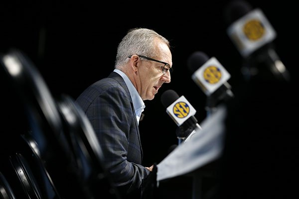 Greg Sankey, commissioner of the Southeastern Conference, talks about the decision to cancel the remaining games in the SEC NCAA college basketball tournament Thursday, March 12, 2020, in Nashville, Tenn. The conference tournament was cancelled due to coronavirus concerns. (AP Photo/Mark Humphrey)