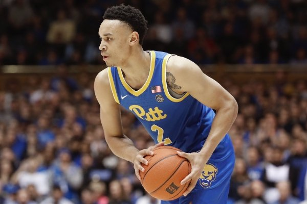 Pittsburgh guard Trey McGowens (2) looks to pass during the first half of an NCAA college basketball game against Duke in Durham, N.C., Tuesday, Jan. 28, 2020. (AP Photo/Gerry Broome)