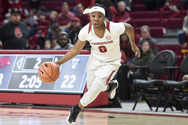 Arkansas guard A'Tyanna Gaulden dribbles the ball during a game against Tennessee-Martin on Sunday, Dec. 29, 2019, in Fayetteville.