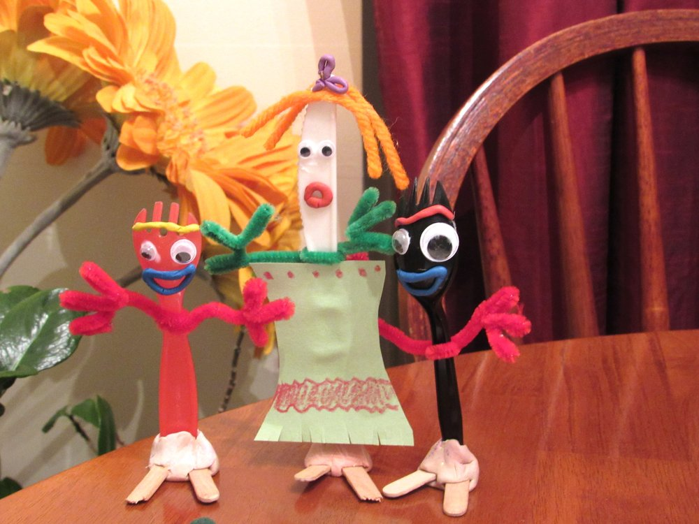 Toy Story 4's Forky and Knifey and friends are a project kids can make for entertainment during the covid-19 pandemic. (Special to the Democrat-Gazette/Kimberly Dishongh)a project to kids can make for entertainment during the covid-19 pandemic. (Special to the Democrat-Gazette/Kimberly Dishongh)