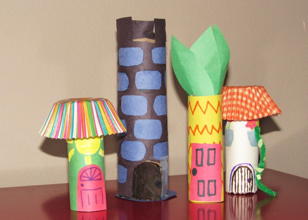 Tubular houses made of paper tubes give little fingers a workout, a project kids can make for entertainment during the covid-19 pandemic. (Special to the Democrat-Gazette/Kimberly Dishongh)