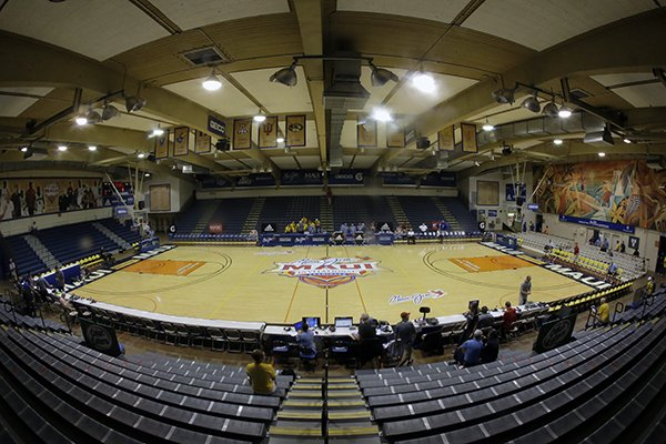 Lahaina Civic Center is shown before the start of the NCAA college basketball games at the Maui Invitational Monday, Nov. 21, 2016, in Lahaina, Hawaii. (AP Photo/Rick Bowmer)