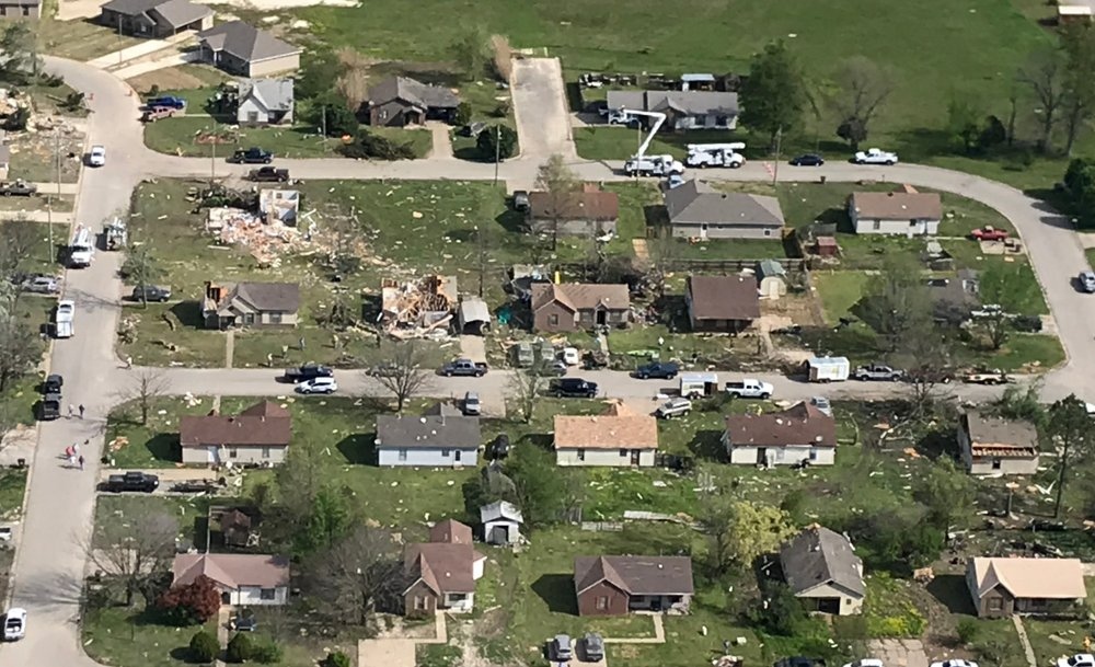 Storm damage in Harrisburg is seen in this aerial photo taken on Thursday morning.