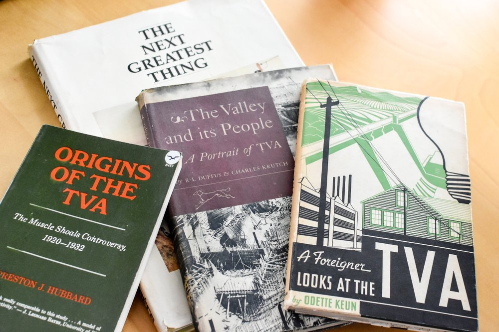 These are a few of the books Mark Barr used for research for his book Watershed.  (Special to the Democrat-Gazette/Kristi McKim)