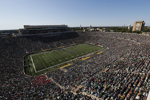 Notre Dame Stadium is shown in the first half of an NCAA college football game against New Mexico in South Bend, Ind., Saturday, Sept. 14, 2019. (AP Photo/Paul Sancya)
