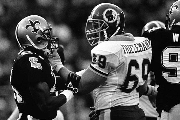Washington Redskins offensive lineman R.C. Thielemann (69) is shown during a game against the New Orleans Saints on Sunday, Oct. 5, 1986, in New Orleans.