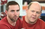 Arkansas coordinators Kendal Briles (left) and Barry Odom are shown Thursday, Feb. 6, 2020, in Fayetteville.